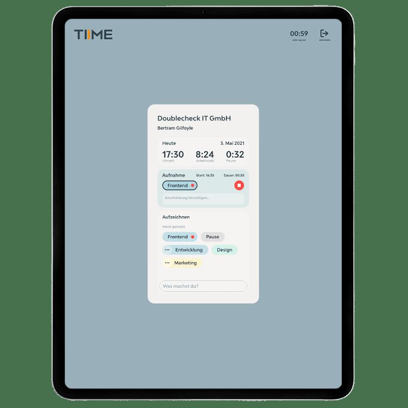 TIIME Terminal Dashboard für Nutzer